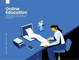 Online education illustration concept vector