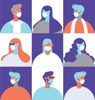 People wearing masks illustration concept vector
