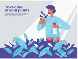 Plants take care illustration concept vector
