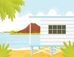 beach house, lagoon landscape vector