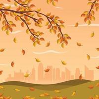 otoño en el parque de la ciudad, ilustración de otoño vector