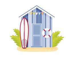 purple beach cabin vector