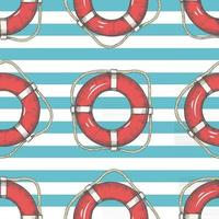 Seamless pattern with hand drawn lifebuoys and stripes. Vintage style. Pattern can be used for wallpaper, web page background, surface textures. vector