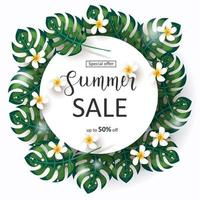 Special offer. Up to 50 off.  Summer tropical Sale background with exotic palm leaves frame. tropical flowers isolated on white. Hand made lettering vector