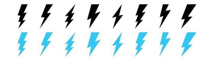 Set lightning bolt. Thunderbolt flat style free vector