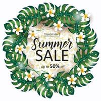 Summer Sale background with Vacation and travel icons, palm leaves frame, tropical flowers and hand made lettering. Contour summer symbols in sketch style.Special offer.Up to 50 off vector