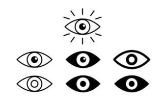 Eye icon set. Eyesight symbol. Retina scan eye icons. Simple eyes collection. Eye silhouette free vector