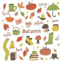 Autumn set Cute hand drawn elements wreath pumpkin acorn mushrooms umbrella scarf hat phrases. Autumn clip art for web card poster cover tag invitation sticker Vector illustration.