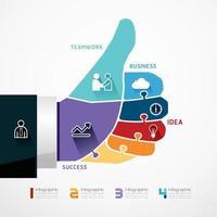 fingers shape good ok  jigsaw banner . concept infographic Template vector illustration