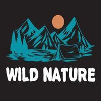 Ilustración de vector de naturaleza salvaje de camping