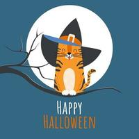 Children's greeting card or party invitation with vector illustration of a cute tabby cat in a witch hat on a full moon. Halloween background