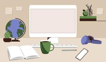Teenager's desk with computer, books and globe. Study online, back to school education concept. Flat vector illustration