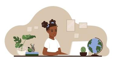 School distance learning concept. African American schoolgirl studies at the table with laptop and books at home. Flat vector illustration
