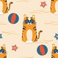 Seamless summer sea pattern cute character tiger in sunglasses on the beach. Cartoon vector illustration