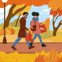 A man and a woman walks holding shopping bags in autumn weather. Fall seasonal discounts. Flat vector illustration