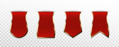Set of red premium label, badge or tag vector