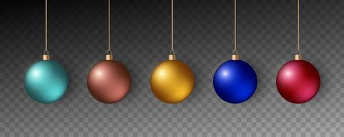 Colorful christmas balls. Set of realistic decorations. vector