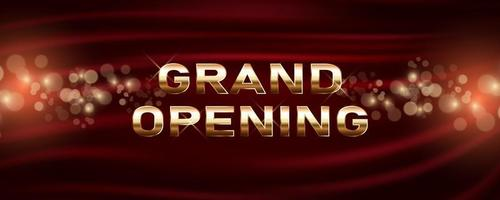 Grand opening vector banner. Festive template for opening ceremony