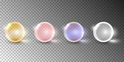 Oil bubble, vitamin capsule isolated on transparent background. vector