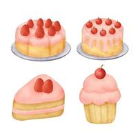 Watercolor hand drawn strawberry cake set. vector