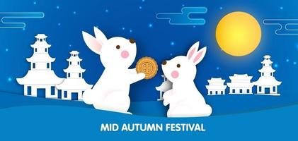 Mid Autumn Festival banner with cute rabbits in paper cut style. vector