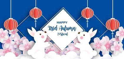 Mid autumn festival banner with cute rabbits and the moon  in paper cut style vector