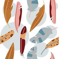 Seamless pattern of hand drawn feathers in boho design. Flat illustration. vector