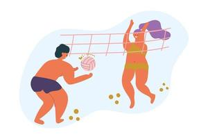 Man and woman play beach volleyball, body positive concept, summer sport. Flat illustration. vector