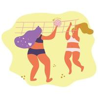 Girls play beach volleyball, body positive concept, summer sport. Flat illustration. vector
