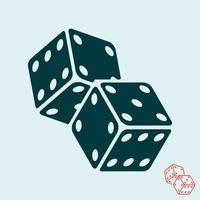 Casino dice icon. Two game dices symbol. Vector illustration.