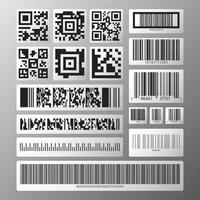 Barcode and QR code set. Abstract various barcodes and QR codes on white stickers. Vector illustration.