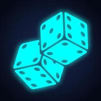 Game dices sign neon light design. Vector illustration.