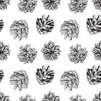 Diseño de fondo de patrón natural transparente blanco y negro con conos de pino ilustración vectorial vector
