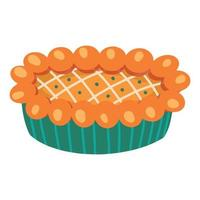 Pumpkin pie on a white background. Traditional American homemade pumpkin pie. Vector illustration