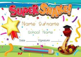 Plantilla de diploma o certificado para escolares con super serpiente vector
