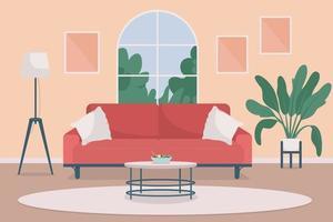 Cozy living room flat color vector illustration