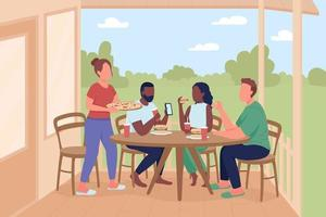 Friends at outdoor dinner party flat color vector illustration