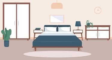Bedroom interior flat color vector illustration