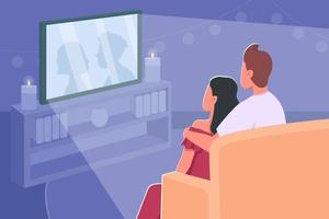 Couple watch movie flat color vector illustration