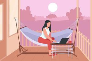 Woman in hammock with laptop flat color vector illustration