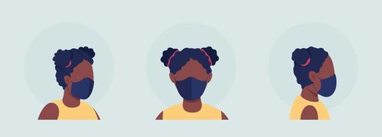 Black female semi flat color vector character avatar with mask set
