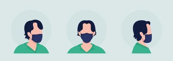 No-pleat mask wearer semi flat color vector character avatar set