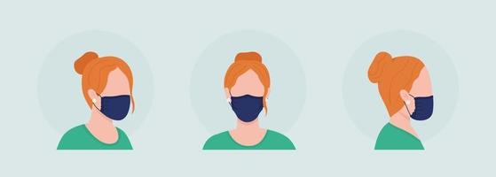Wear mask with gathered sides semi flat color vector character avatar set