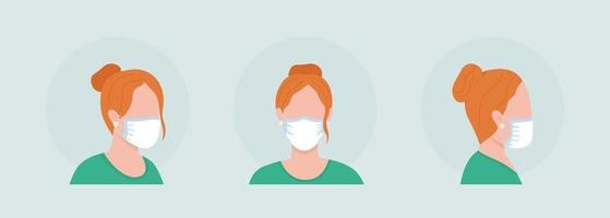 Wear mask without folds semi flat color vector character avatar set