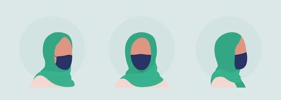 Hijab woman semi flat color vector character avatar with mask set