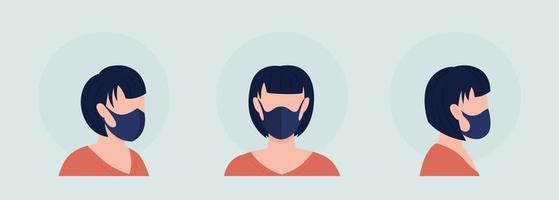 Middle seam mask wearer semi flat color vector character avatar set