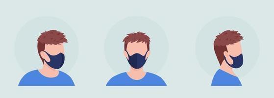 Black mask wearer semi flat color vector character avatar set