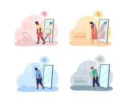 Teenager with overweight problem 2D vector isolated illustration