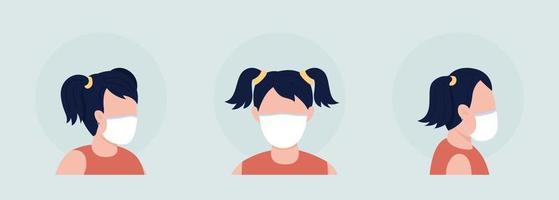 Girl with elastic mask semi flat color vector character avatar set