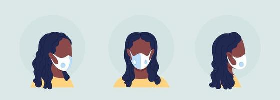 Wear respirator with breathing valve semi flat color vector character avatar set